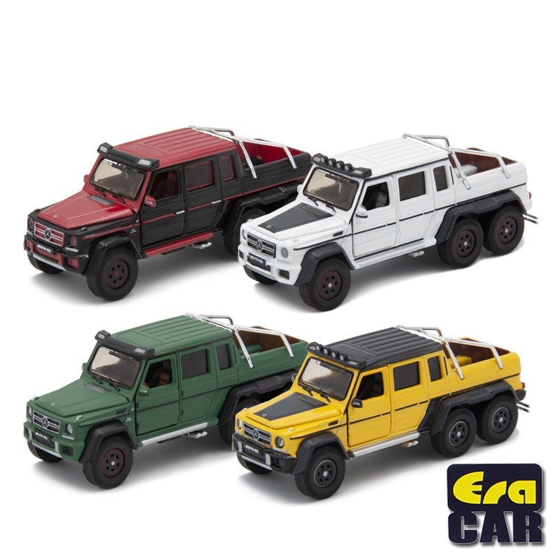 Era Car 1:64 AMG G63 6 X 6 Pickup Truck Off Road With Dairy Cattle Family Desert Version Diecast Model Car