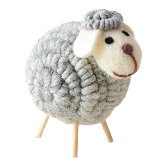 12 CM Innovative Wool Felt Cute Sheep Shape Children's Room Decoration Ornament Soft Toys Dolls Kawaii Sheep Alpaca Plush Toys 5