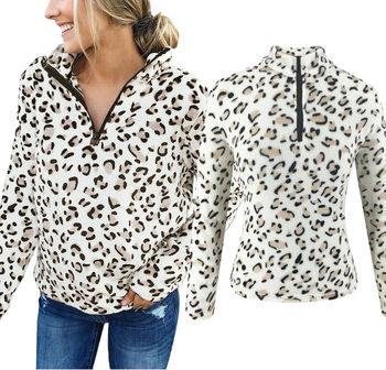 Women's Leopard Fleece Fur Jacket Outerwear Winter Warm Hoodie Fluffy Coat