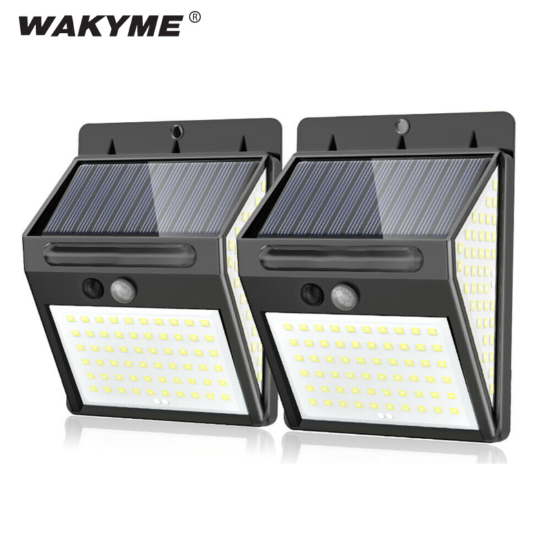 WAKYME 140 LED Solar Light Outdoor Solar Powered Wall Lamp PIR Motion Sensor Garden Security Floodlight Waterproof Solar Lamp