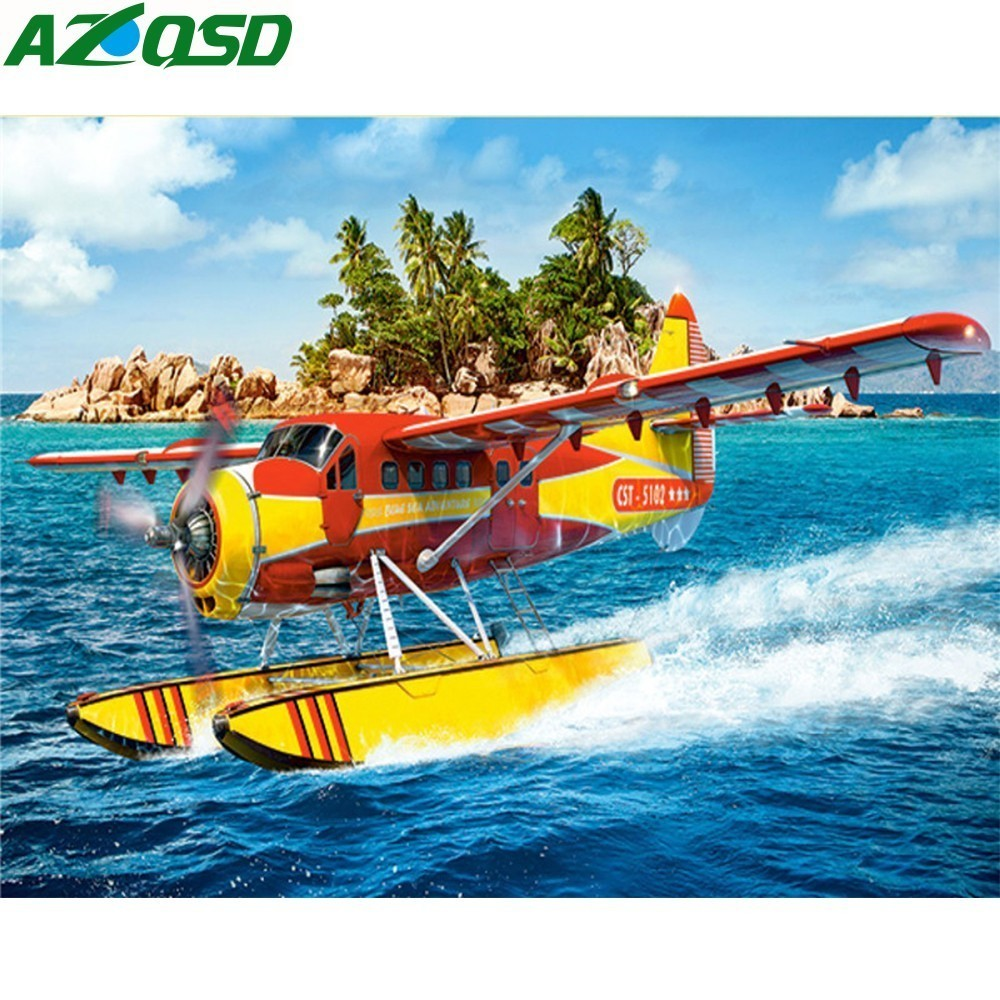 Diamond Painting Embroidery Landscape Aircraft Wall Arts Mosaic Scenery Pictures