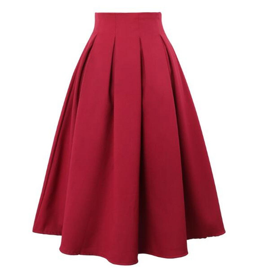 Women Pleated <font><b>Skirts</b></font> Party Midi Skater Summer Vintage High Waist Knee Length Office Workwear Plus Size Solid <font><b>Ball</b></font> Gown <font><b>Skirt</b></font> image