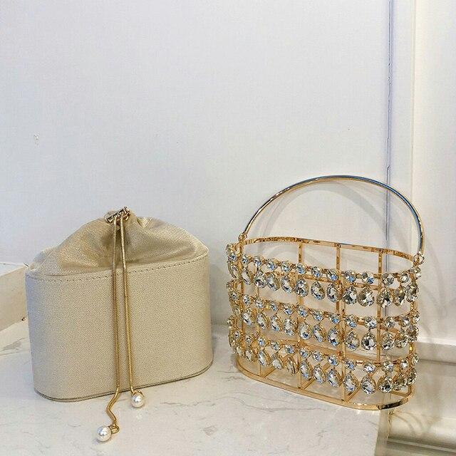 Black & Apricot Silver Diamond Metal Basket Ladies Shoulder Chain Tote  3