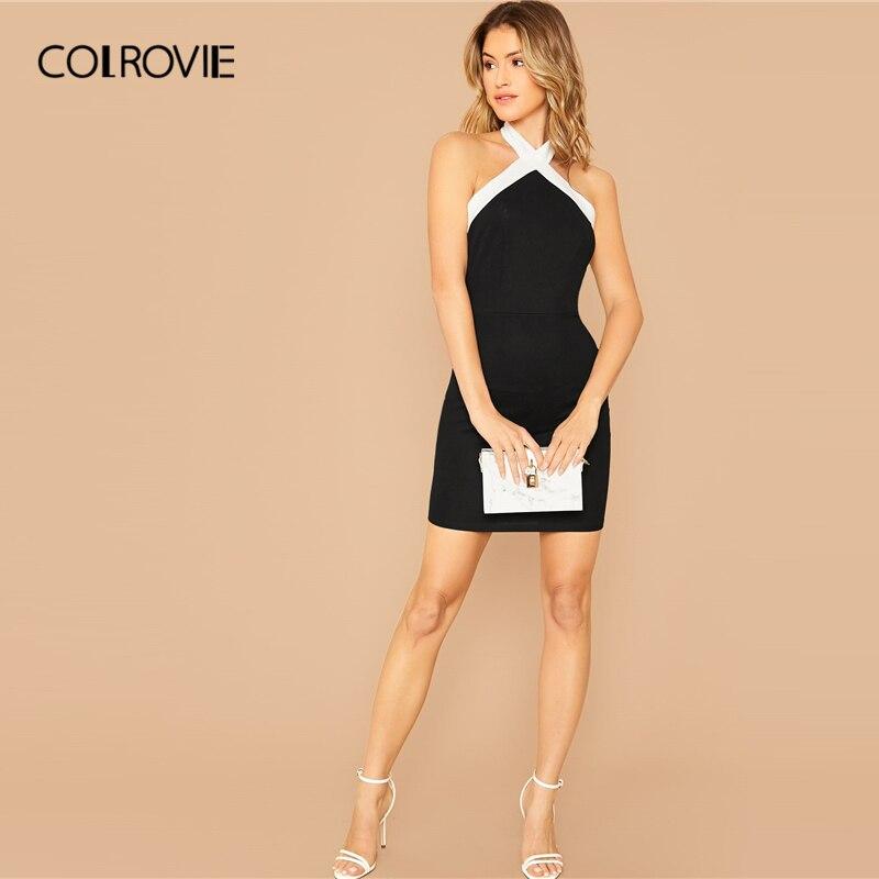COLROVIE Black Contrast Halterneck Bodycon Dress Women Sleeveless Sexy Backless Mini Dress 2020 Slim Elegant Pencil Dresses 2