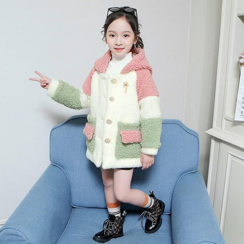 Luxury Kids Wool Coat for Girl 2019 Autumn Winter Fashion Girl Fur Coat Warm Fleece Outerwear Teen Fleece Hoodie Jacket Clothing