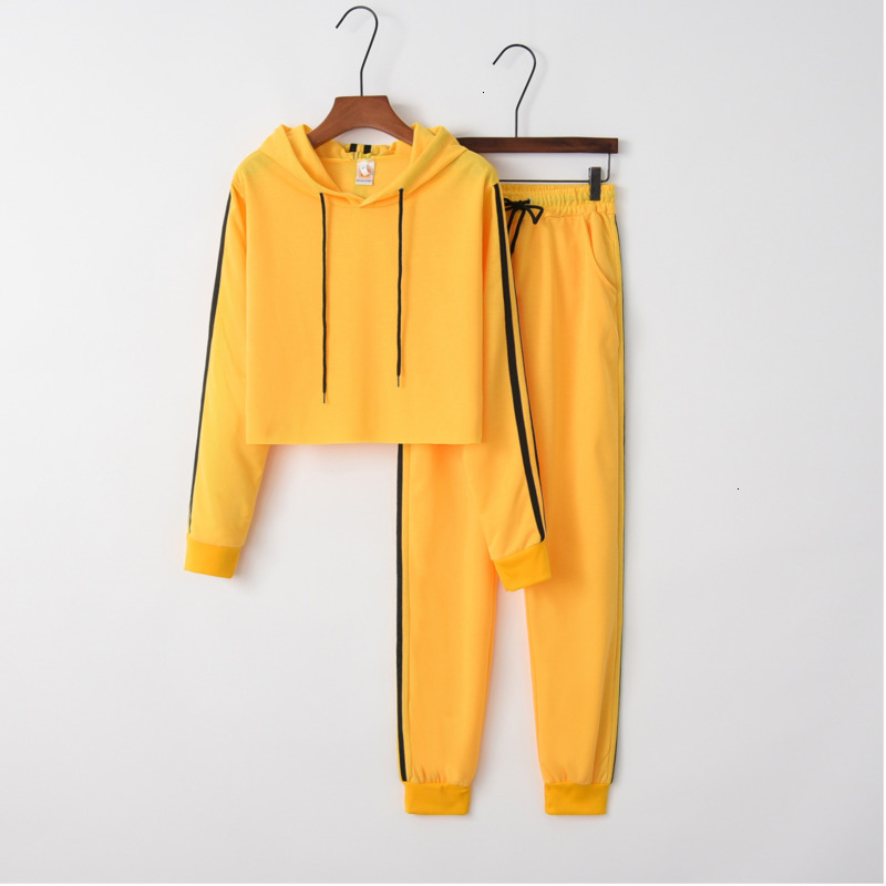 Trend Yellow Casual Striped 2 Piece Set Long Sleeve Sport Suit Women Tracksuit Set Hoodies Pullover Jogging Femme Outfits Wz*