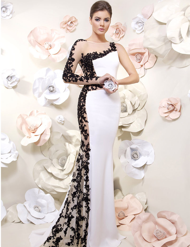 2016 One Shoulder Long Sleeve Dresses Mermaid With Black Appliques White Evening Gown Elegant O-Neck Party Dress