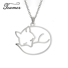 Teamer Fox Necklace Pendant Stainless Steel Chain for Women Gold Plated Fashion Cute Animal Jewelry Gifts