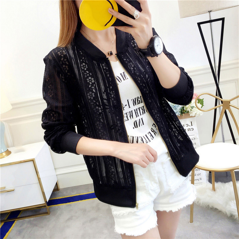 Wholesale Casual Autumn  Long-sleeved Zipper Coat Jacket Loose Hollow Out Jacket Round Neck Fashion Jacket New