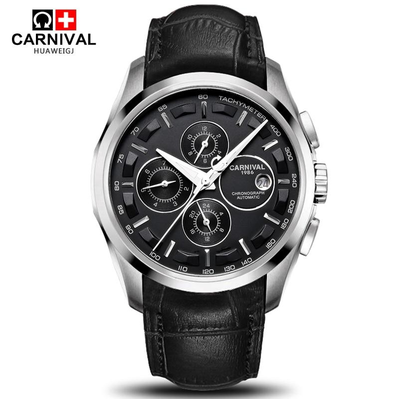 Automatische mechanische schweiz marke männer armbanduhren modus luxus lederband uhr wasserdichte 100M uhr relogio reloj
