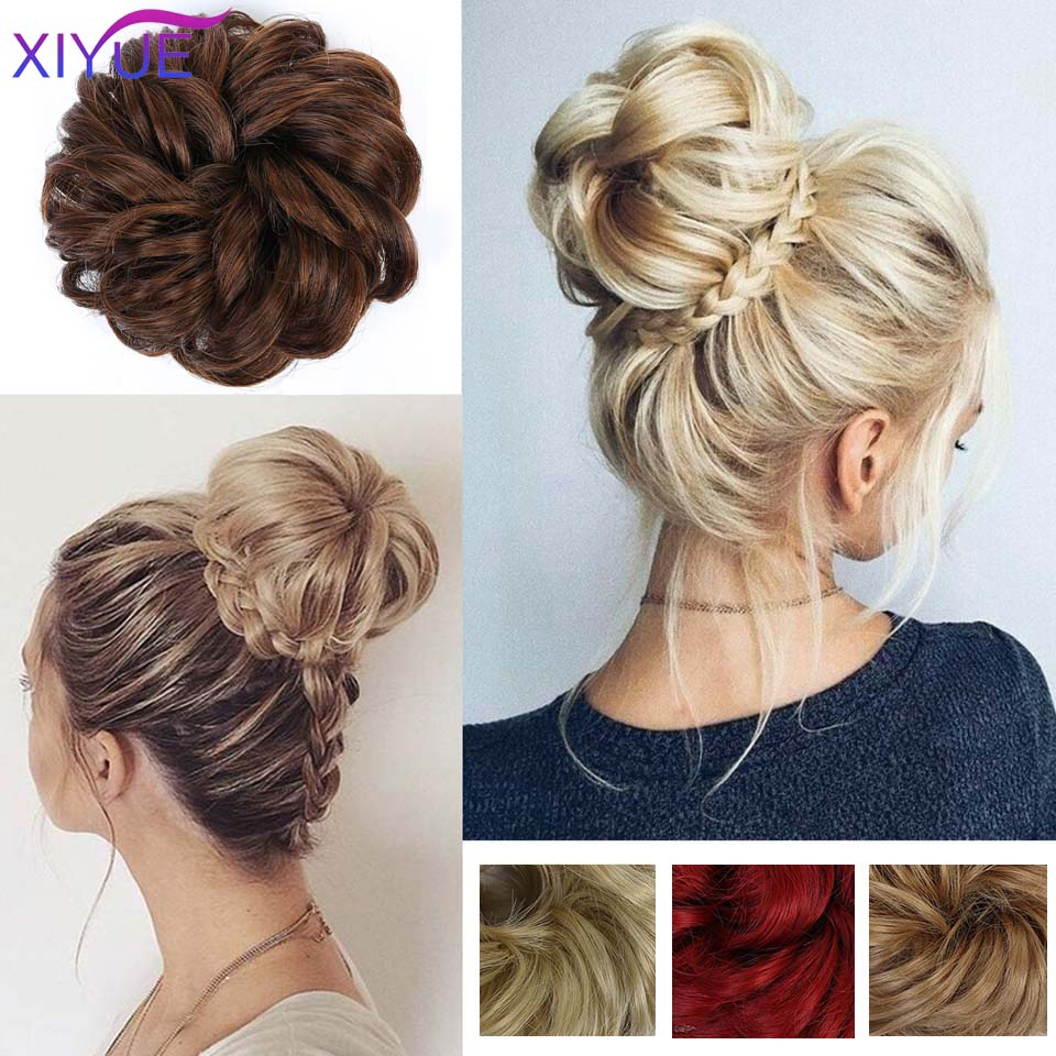 Women Curly Chignon With Rubber Band Synthetic Hair Extensions Multicolor Donut Hairpieces Hair Bun Wrap Ponytail For Girls