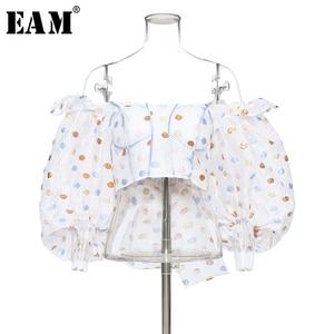 Женская блузка с бантом [EAM], белая Свободная блузка в горошек с воротником-лодочкой и длинными рукавами-фонариками, весна-лето 2020 1U861