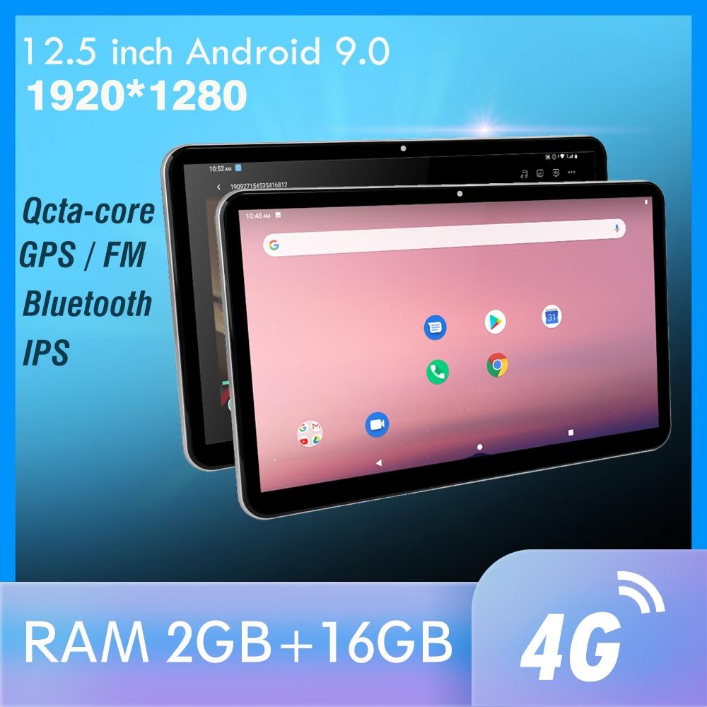 12.5 polegada android carro encosto de cabeça monitor 1920*1280 vídeo ips tela sensível ao toque gps 4g wifi/bluetooth/usb/fm/câmera mp5 vídeo dc player