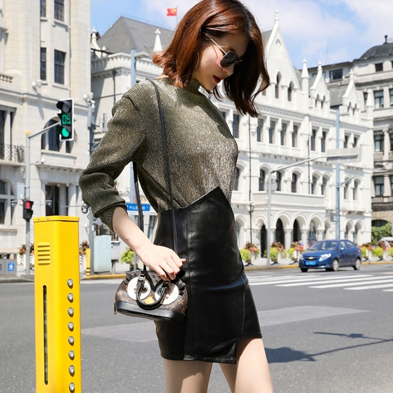 Luxury Sheepskin Genuine Leather Mini Skirts Womens Streetwear Office Ladies High Waist Wrap A-Line Skirt Black Irregular Faldas