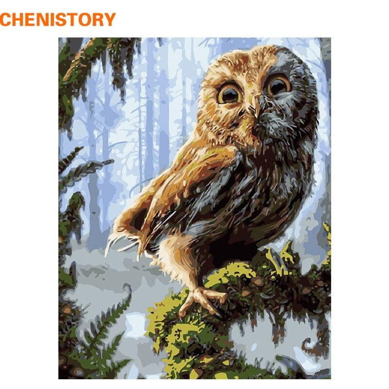 CHENISTORY DIY Краска по номерам, сова, животные, Акриловая Краска на холсте, настенная живопись, ручная краска, масляная краска для дома|Рисование и каллиграфия|   | АлиЭкспресс