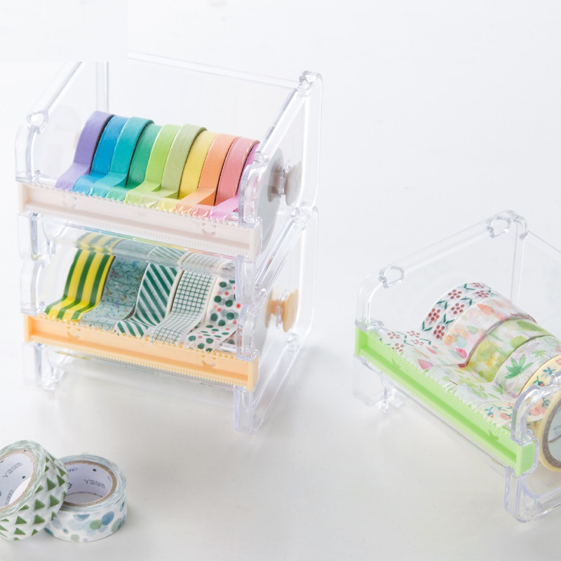 1 Pcs Cute Simple Transparent Adhesive Masking Washi Tape Dispensers Office Desktop Tape Holder With Tape Cutter Gifts