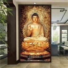 Self-Adhesive Wallpaper Buddha Painting Statue Custom Golden-Decorative