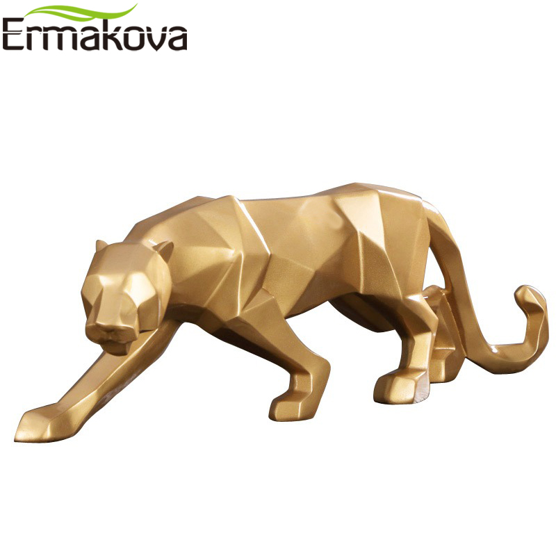 ERMAKOVA 10 Inch Leopard Figurine Modern Abstract Geometric Style Resin Panther Animal Statue Home Decoration Accessories