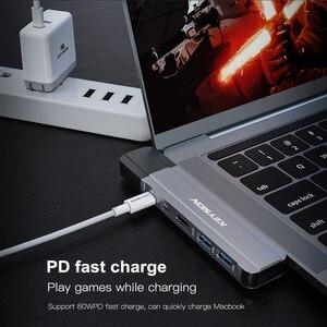 Image 3 - مفتاح USB HUB C HUB إلى متعدد USB 3.0 HDMI محول USB الفاصل لماك بوك برو حوض الصاعقة 3 HUB RJ45 المزدوج USB نوع C HUB