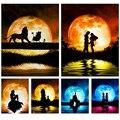 Алмазная картина Романтика отражение лунного света мозаика Вышивка крестом квадратная и круглая Алмазная домашняя декоративная картина в...