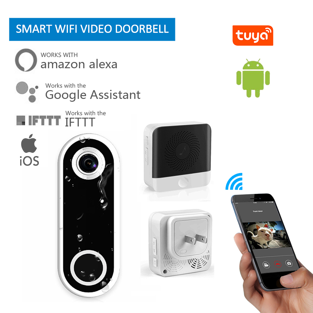 Tuya Smart Home Smart WiFi Video Doorbell Visual Intercom Camera With Chime Night Vision Door Wireless Doorbell  Security Camera