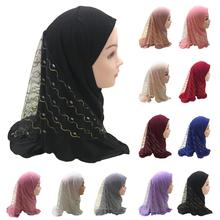 One Piece Amira Muslim Kids Girls Mesh Hat Headscarf Shawl Wrap Islamic Prayer Hijab Ramadan Cover Headwear Caps Middle East