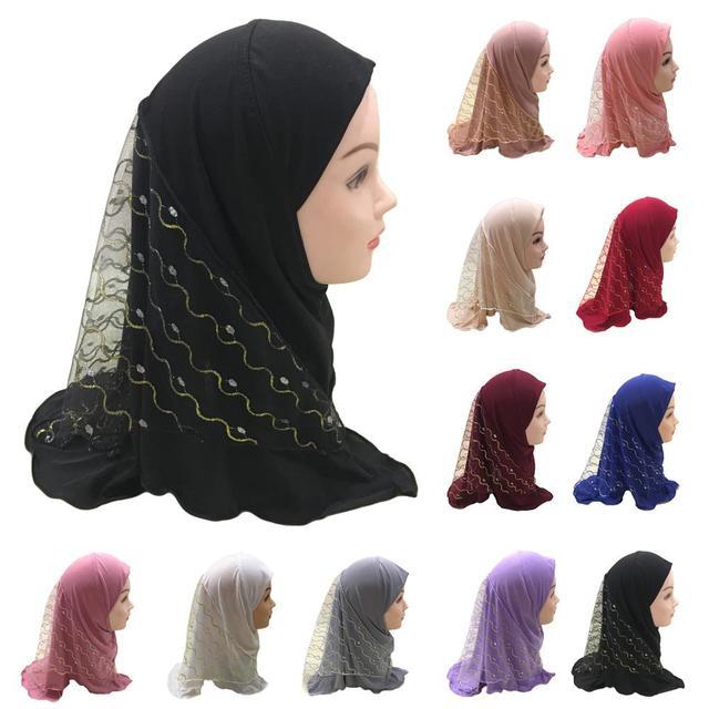 원피스 amira muslim kids 소녀 메쉬 모자 headscarf shawl wrap 이슬람기도 hijab 라마단 커버 headwear caps 중동
