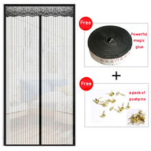 Magnetic Anti-Mosquito Screen Door Anti Mosquito Insect Fly Curtain Automatic Closing Door Kitchen Curtains Black Door Curtain tulle door screen mesh anti mosquito magnetic curtain