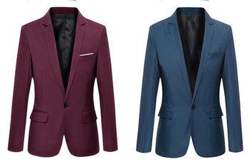 حار بيع الرجل الكوري ضئيلة تناسب وصول القطن السترة سترة سوداء زرقاء زائد حجم s إلى 4xl الذكور الحلل رجل معطف الزفاف 1