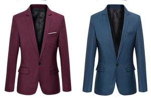 Мужской Корейский приталенный Блейзер masculino, хлопковый Блейзер, офисный пиджак черного и синего цвета размера плюс, мужские блейзеры, мужское пальто для свадьбы