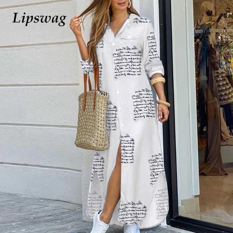Phụ Nữ Thanh Lịch Ve Áo Cổ Nút Xuống ĐẦM MÙA HÈ 2020 In Chữ Dài Áo Váy Đầm Nữ Tay Đầm Dự Tiệc đầm Vestido