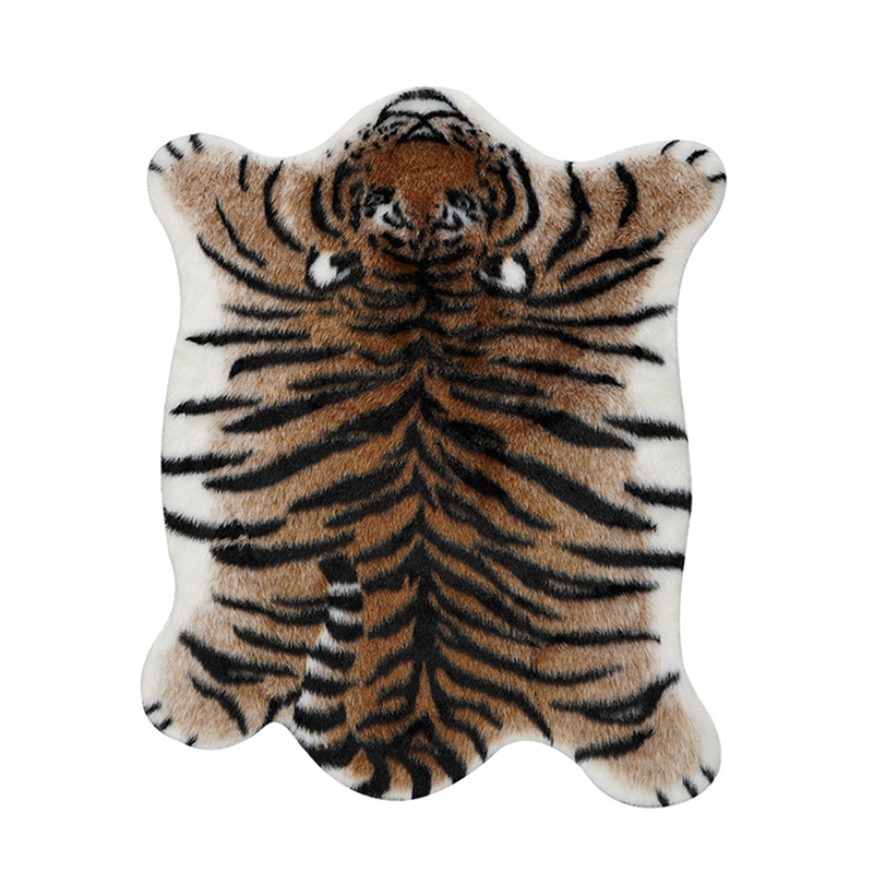 Tiger Print <font><b>Rug</b></font> Artificial Tiger Wool Faux Fur Skin <font><b>Leather</b></font> Bathroom Anti-Slip Mat Animal Print Carpet for Home Large image