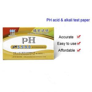 Специальная индикаторная бумага, Прецизионная рН-тестовая полоса 5,5-9,0, косметическая слюна, моча, амниотическая фуидовая кислота и Алка, те...