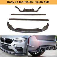 Car Body Kit for F15 X5 F16 X6 X6M Carbon Fiber Front Bumper Lip Rear Diffuser Side Skirts 2014UP