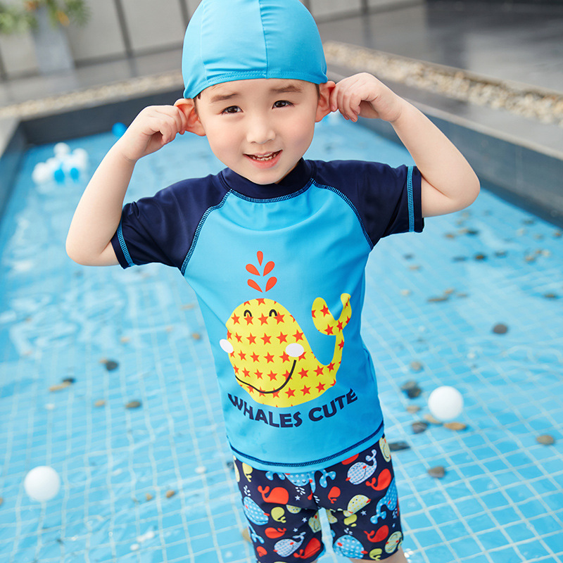 New Style KID'S Swimwear BOY'S Export Puffer Split Type Boxer Swimming Trunks Swimming Cap Tour Bathing Suit