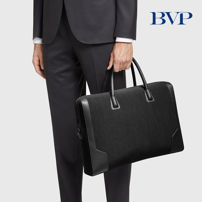 BVP Fashion Simple Dot Famous Brand Business Men Briefcase Bag Genuine Leather 15.6