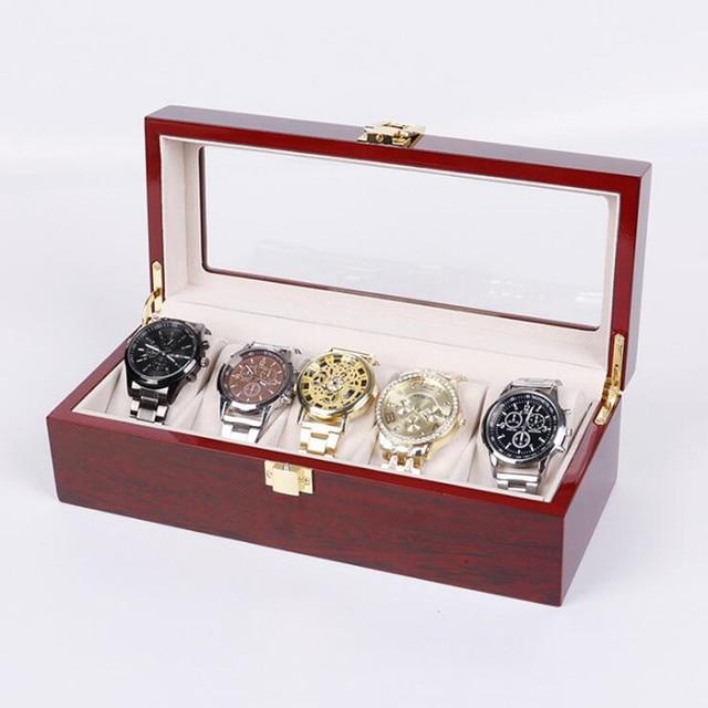 2/3/5/6/10/12 Grids Wooden Watch Box Jewelry Box Display Watch Case Holder Organizer for Watches Men  Valentine's Day Gift 6
