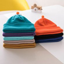 цены на Toddler Boy Girl Ribbed Knit Cuffed Beanie Hat Bright Solid Color Cute 3D Cartoon Eye Nose Top Winter Double Layer Snow Ski Cap  в интернет-магазинах