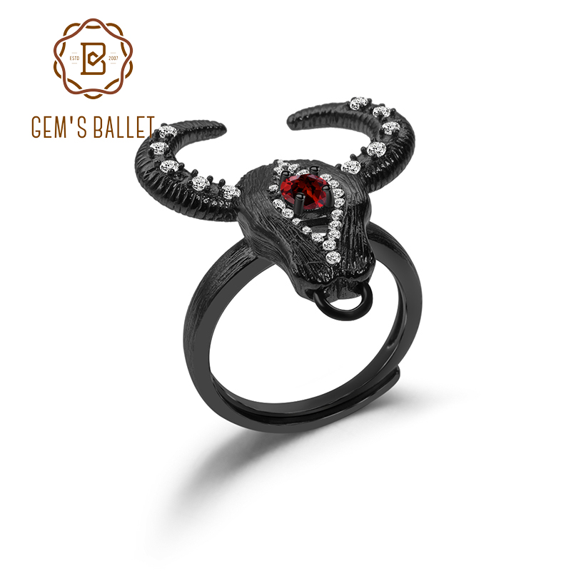GEM'S BALLET Natural Red Garnet Gemstone Adjustable Open Ring 925 Sterling Silver Handmade Bull Head Ring For Women Fine Jewelry