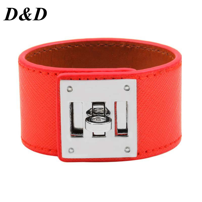 2019 European Fashion Punk Wide Leather Bracelets Bangles for Women Cuff Bracelet Statement Jewelry Valentines Gift in ID Bracelets from Jewelry Accessories