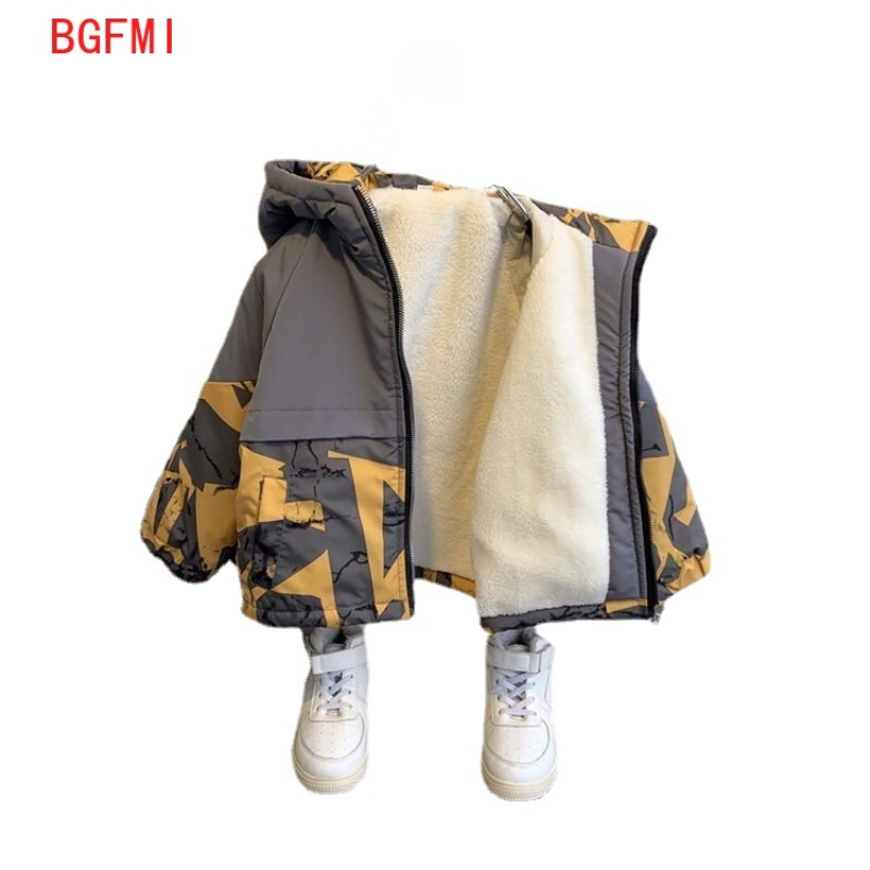 Boys Windproof Thickened Cotton coat Clothes Plus Velvet Winter zipper Clothing Baby Patchwork Jackets Warm Camouflage Hooded