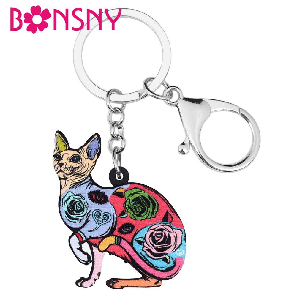 Bonsny Acrylic Floral Canadian Hairless Cat Kitten Keychains Key Ring Jewelry Gift For Women Purse Handbag Accessory Decoration