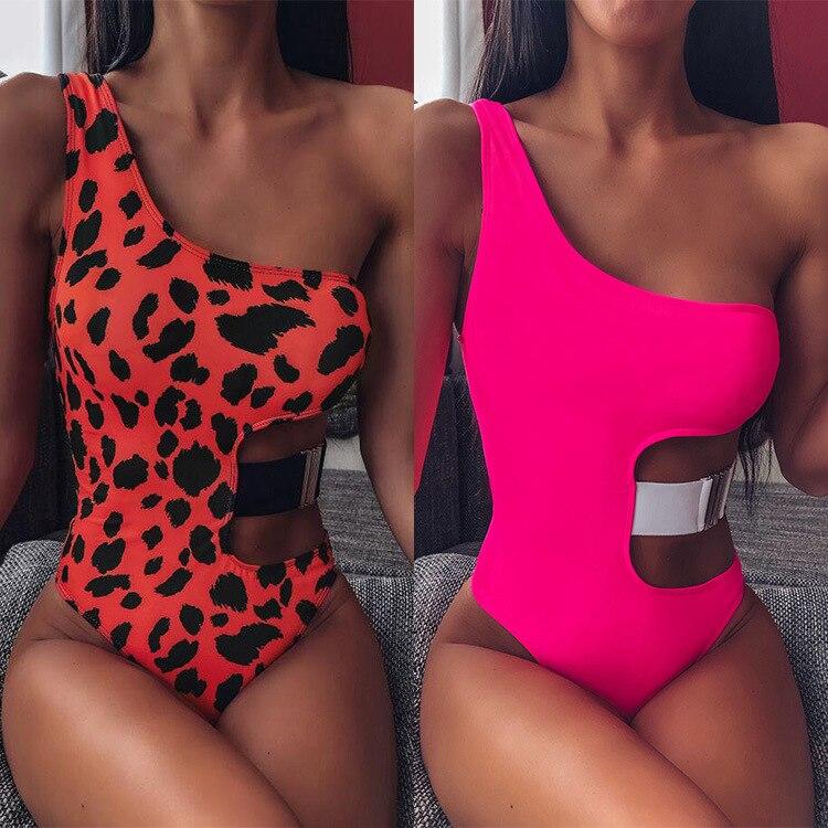 Hirigin Sexy Hollow Out One Piece Swimwear Women 2020 New Push Up Padded One Shoulder Swimsuit Bathing Suit Women Beachwear Hot