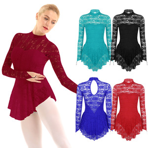 Image 2 - Women Adult Long Sleeve Lace Ballet Gymnastics Leotard Figure Ice Skating Dress Female Stage Performance Competition Costumes