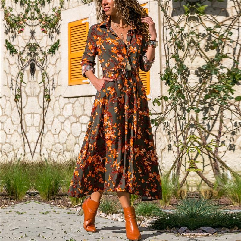 Летнее Длинное женское платье с цветочным принтом, шифоновое платье в стиле бохо с длинным рукавом и отложным воротником, платье-рубашка