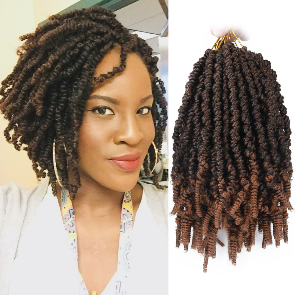 black star Short 8 Afro Bomb Twist Synthetic Crochet Braiding Hair for Women Ombre Fluffy Twist Pre-looped Hair Extensions image