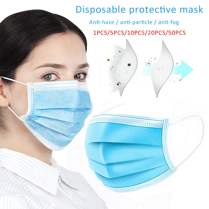 10 Pcs 3 Layer Disposable Protective Face Mouth Masks Anti nCoV PM2.5 Influenza Bacterial Facial Dust-Proof Safety Masks