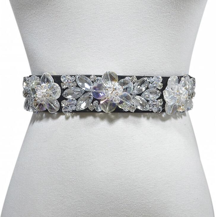 Women's Runway Fashion Diamonds Beaded Elastic Cummerbunds Female Dress Corsets Waistband Belts Decoration Wide Belt R2006