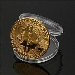 Pozłacane monety Bitcoin prezent kolekcjonerski Casascius Bit Coin bitcoiny kolekcjonerskie fizyczne monety złota pamiątkowa w Monety bezwalutowe od Dom i ogród na