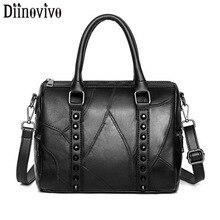DIINOVIVO Rivet Soft Handbag Women Luxury Brand Ladies PU Leather Bags Fashion Shoulder Messenger Female WHDV1274
